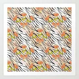 Floral pattern on a tiger background . Art Print
