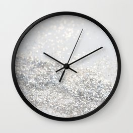 Silver Gray Glitter #3 #shiny #decor #art #society6 Wall Clock