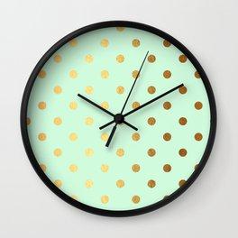 Gold polka dots on mint background - Luxury greenery pantone pattern Wall Clock