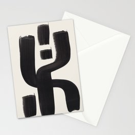 Mid Century Modern Minimalist Abstract Art Brush Strokes Black & White Ink Art Alien Symbol Pattern Stationery Cards