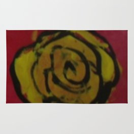 Yellow Rose Red Kids Art Painting  Rug