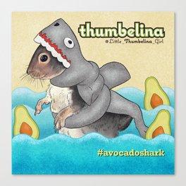 Little Thumbelina Girl: avocado shark Canvas Print