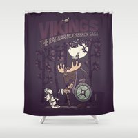 vikings Shower Curtains featuring Vikings by hugraphic