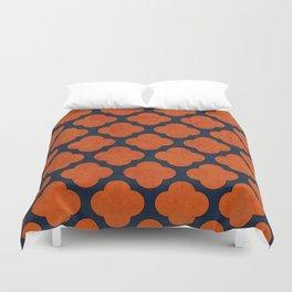 navy and orange clover Duvet Cover