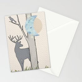 Forest Silouhettes, a Moonage Daydream (cropped) Stationery Cards