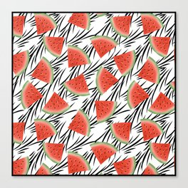 Watermelon slices on white black stripes on the background. Canvas Print