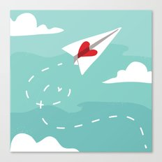 Love Letter Airplane Canvas Print