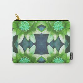 Teal Green Bromeliad Pattern Carry-All Pouch