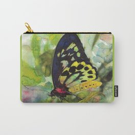 Colorful Butterfly With Green Background Fine Art Watercolor  Carry-All Pouch
