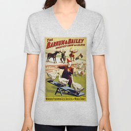 Barnum and Bailey Circus Geese and musical donkey Unisex V-Neck