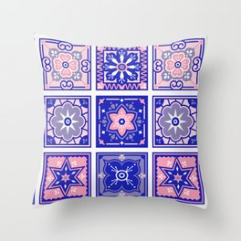 Talavera Mexican Tile – Pink & Periwinkle Palette Throw Pillow