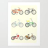 bikes Art Prints featuring Bikes by Samantha Eynon