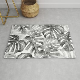 Black and white Monstera leaves Jungle leaves Palm leaves Tropical Rug