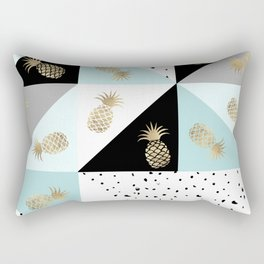Pastel color block watercolor dots faux gold pineapple Rectangular Pillow