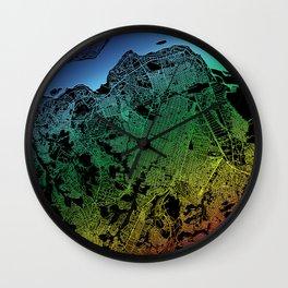 Kinshasa, Democratic Republic of the Congo, City, Map, Rainbow, Map, Art, Print Wall Clock