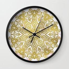 Golden Mandala on Pink Marble Wall Clock