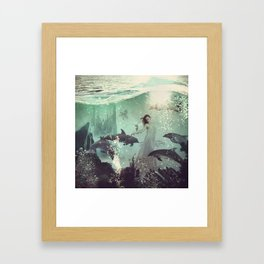 The Sea Unicorn Lady Framed Art Print