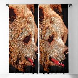 kodiak brown bear vector art Blackout Curtain