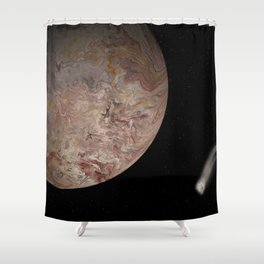 An Icy Moon with Comet Shower Curtain