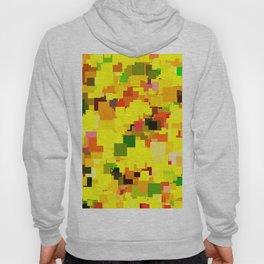 geometric square pattern pixel abstract background in yellow orange green red Hoody