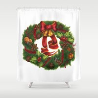 art nouveau Shower Curtains featuring Christmas wreath. Art nouveau. by Mari Anrua