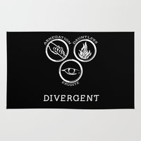 divergent Area & Throw Rugs featuring Divergent (White) by Lunil