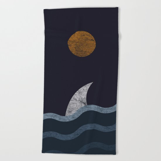 Midnight Shark Beach Towel