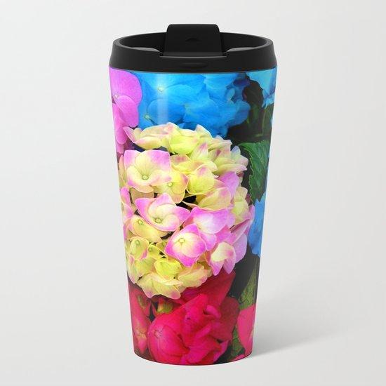 Red Blue Rose Flower Blossoms Hydrangeas Metal Travel Mug