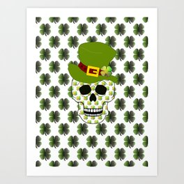 St Paddys Skull - St Patrick's Day Art Print
