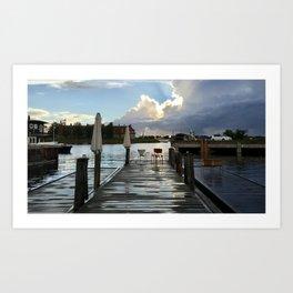 dusk on the dock after rain Art Print