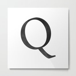 Letter Q Initial Monogram Black and White Metal Print