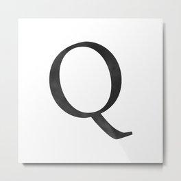 Letter Q Initial Monogram Black and White Metal Print