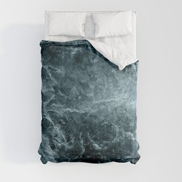 Enigmatic Deep Blue Ocean Marble #1 #decor #art #society6 Comforters
