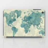 vintage map iPad Cases featuring World Map Blue Vintage by City Art Posters