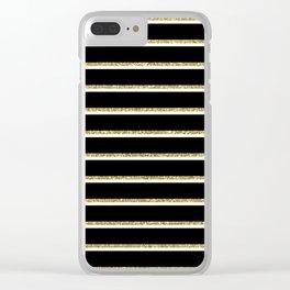 Black Gold White Stripe Pattern 2 Clear iPhone Case