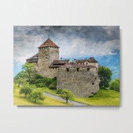 Vaduz Castle Digital Oil Painting Metal Print