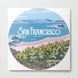 San Francisco, California Beach Succulents Illustration Metal Print