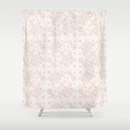 Elegant pink white pastel color chic floral lace Shower Curtain