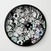 Colorful black detailed floral pattern Wall Clock