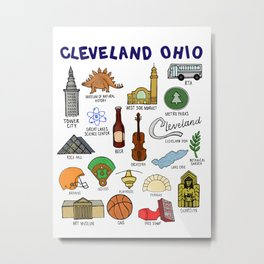 Cleveland Ohio Icons Metal Print