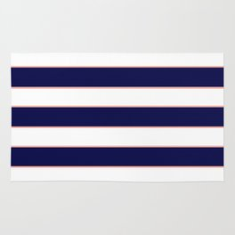 Double Stripes (Navy & Coral) Rug