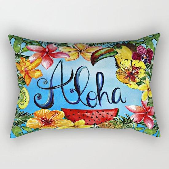 Aloha - Tropical Flower Food and Animal Summer Design on #Society6 Rectangular Pillow