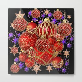 RED-GOLD CHRISTMAS TREE ORNAMENTS SNOWFLAKE ART Metal Print