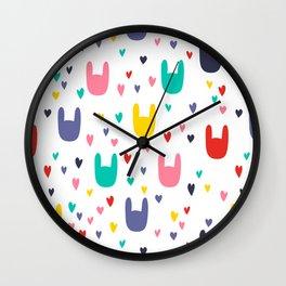 colorful rabbits Wall Clock