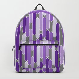 Modern Tabs in Purple and Lavender on Gray Backpack