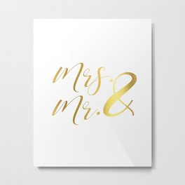 Mr Mrs Love Prints. Wedding Art Prints. Real Gold or Silver Foil Print. His and Hers Wall Art. Metal Print