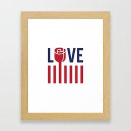 Love not hate Framed Art Print