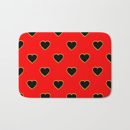 Black Hearts on Red Background Bath Mat