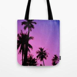 Tropical palm trees with purplish gradient Tote Bag
