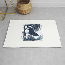 Wolf Nature Mountains Rug